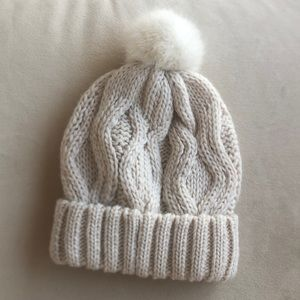 H&M Cream Color Knit Hat with Pom Pom
